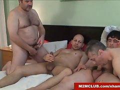 Sissy chap banged by hung dudes