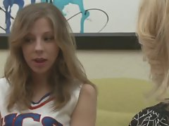 Lesbo cheerleader and a lewd tempting blonde Mommy