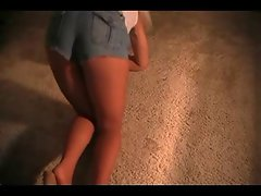 Lewd Slutty wife Wearing Pantyhose, Denim Shorts and Heels