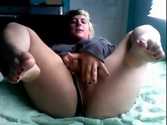 Sensual Plumper Girlfriend showing her Damp Rosy Muff and Yummy Feet