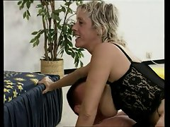 German blond Mommy banging with two mens
