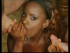 Slutty ebony Tart Gets DP By Two Alluring White Guys!