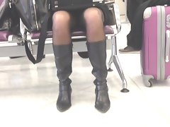 blond business wench upskirt at airport