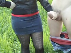 HandJob on nature! Sensual russian amateur!