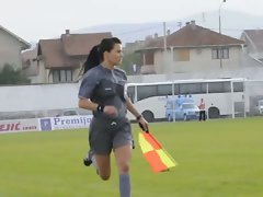 Nice looking woman linesman
