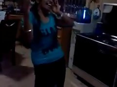 Tamil young woman dancing and showing bare body