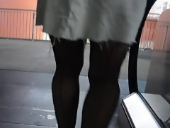 Upskirt cunt lips, stockings & suspenders