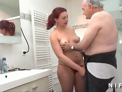 19 years old french redhead fucked before sucks to Papy