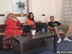 Mother-in-law shags him and slutty wife comes in
