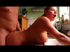 Dirty wife With Mega boobs Rammed Over Kitchen Sink