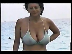 filthy big tit stepmom at the beach