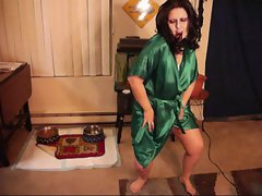 Lady Satin dances in Green Robe white nightie.