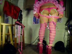 Tgirl BBC whore dances for Andy's BB9inchC balls deep reward.