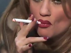 Filthy bitch In Fur Smoking & Teasing