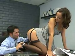 Secretary Jada Stevens ebony stockings sex