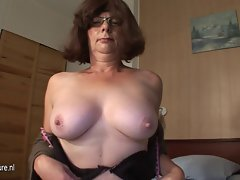 Shaven attractive mature slutty mom masturbate with banana