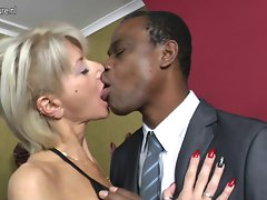 Filthy white slutty mom go black while hubby away