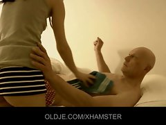 Bald experienced man banged by a nymphomaniac 18yo maid