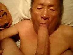 Aged Asian Man Eating a Extremely big cock