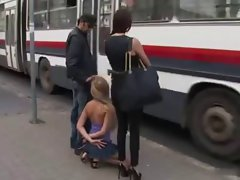 nice looking light-haired nympho handcuffed and used in a bus
