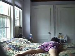 Watch my mamma having nice time on bed. Hidden cam