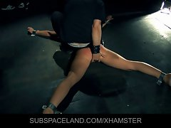 Young tempting blonde whore gets first lessons of submission