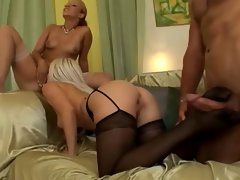 2 Sensual Ladies Luxuriate Crazy threesome action Stocking Fetish & Screwing