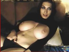 big titted romanian dark haired teasing on webcam