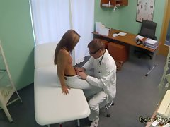 Shaped dark haired young lady likes to fuck her doctor