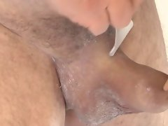 Shaving my uncut dick and balls foreskin and precum play