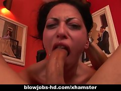 Randy dark haired Veronica Jett gets deepthroated wild