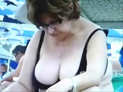 Seductive russian Buxom Solid Grannies on the Beach! Amateur!
