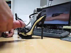 Banging the hottest Black Gold Plateau Heels Ever