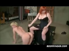 Lezzy Spanking And Brutal Strap On Fuck