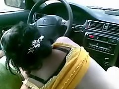 Polish prostitute give a routine head in car.