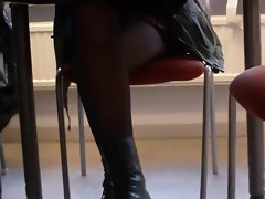 Black Tights Under Desk in Library Again!