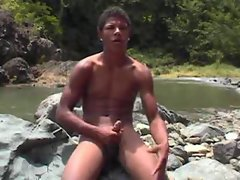 Latin Twink masturbates outside