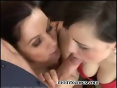 Slutty mom &amp_ Daughter Cock sucking