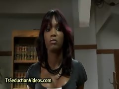 Black transsexual in pantyhose bangs student