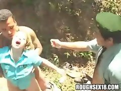 Light-haired slutty girl gets DPed in the forest