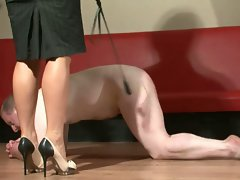Mistress spanks and uses slave