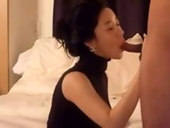 Lewd Beauteous Asian licking Phallus and banged