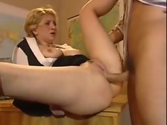 Blond Sensual russian teacher bum in class.