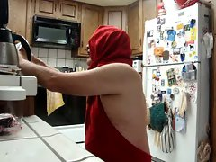 Luscious red hooded backless gown for Lynda slutbabe