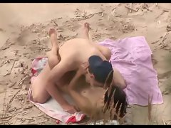 Voyeur on public beach. Excellent sex with lewd lass