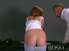 BDSM XXX Teenie slave lady caresses Masters shaft to please