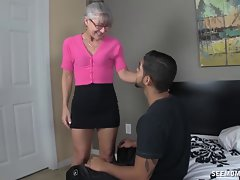 Raunchy Granny Licks A 18 years old Pecker
