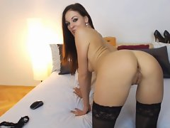 Amazing and kinky young lady with fake penis act on cam!