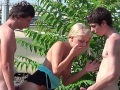 Tempting blonde comely Raunchy teen PUBLIC sex orgy Part 2