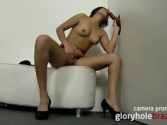 Amateur brazilian chick stroking in the gloryhole!